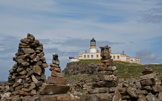 Stone towers and the Lighthouse of Neist Point